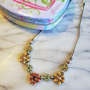 Brighton Flower Enameled Necklace & Keepsake Tin